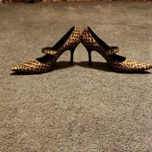 Sexy stiletto leopard calf hair mary janes